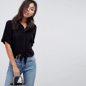 Asos Tie Front Shirt In Crinkle Top Black Size 6